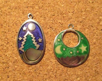 2 Rare 1980's Vintage Coin Silver Guilloche Enamel SCENERY Pendants STUNNING COLORS Tree w Mountain, Stars and The Ocean Sky w Stars & Moon
