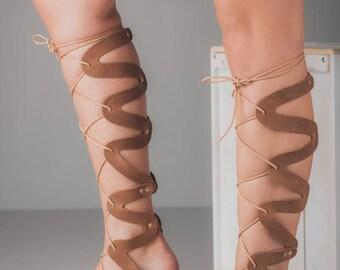 Brown Suede Gladiators,Lace up Gladiator Sandals,Leather Gladiators,Ancient Greek Gladiator Sandals,Handmade Leather Sandals,Back Detail