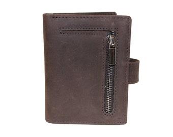 Small Slim Bifold Card Organizer Gray Brown Genuine Leather Unisex Coins Zipper Bill Fold Snaps Window Gift 9643