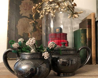 Victorian silverplate sugar and creamer