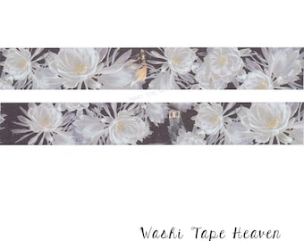 """NEW  Dramatic """"White Flowers"""" Washi Tape - 30mm x 5m - Asian Floral - Small Fantasy Ladies Figures in the Background"""