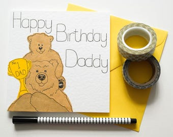 Cute Daddy Birthday Card, Daddy Bear and Baby Bear Birthday card,No 1 Daddy Birthday card,Handmade Daddy Birthday Card with No 1 Dad Trophy