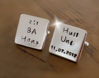 Sterling Silver Personalised Graduation Cuff Links, Personalised Cuff Links, Solid Silver Personalised Cuff Links, Personalised Gift for Him