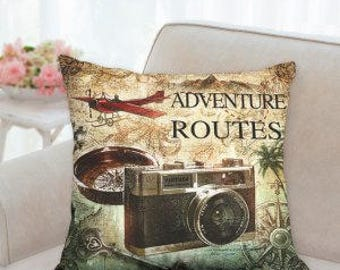 Adventure Routes Pillow