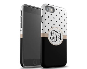 iPhone 8 Case, iPhone 7 Case, iPhone 7 Plus Case, Samsung Galaxy Case, Galaxy S8 Case, Galaxy S7 Case, Black Polka Dots Monogram Case