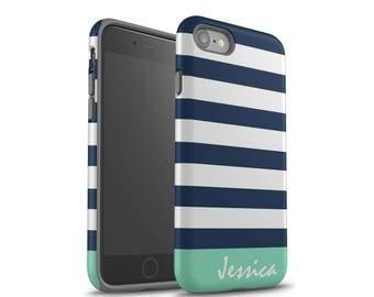 iPhone 7 Case, iPhone 8 Case, iPhone 7 Plus Case, iPhone X Case, Samsung Galaxy Case, Galaxy S8 Case, Navy Blue Stripes, Mint, Monogram