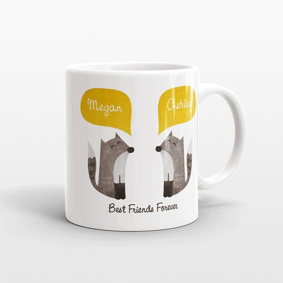 Best Friend Gift, Fox Mug, Personalized Best Friend Mug, Animal Best Friend Coffee Mug, Unique Friendship Gift Best Friend Birthday Gift