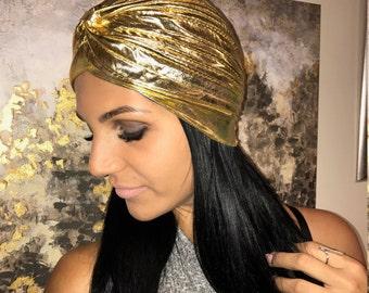 Gold Turban, Unique Golden Shiny Turban, Metallic Turban, Cloche Turban, Fashion Gold Cloche, Metallic Hats, Show Turban, Dance Turban,