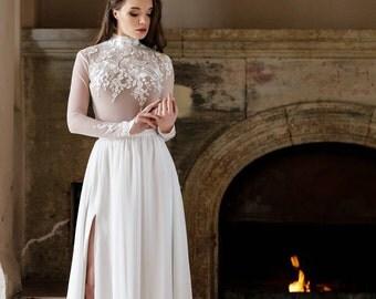 wedding separates - maxi skirt - maxi skirt with a slit - floor length skirt - delicate maxi skirt - elegant skirt - gown separates