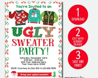 ugly sweater invite etsy - Ugly Sweater Party Invitation