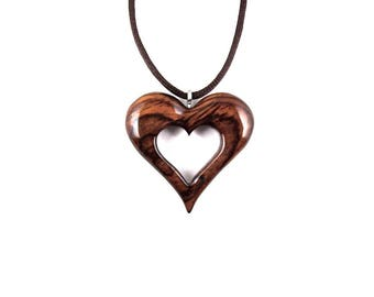 Wood Heart Pendant, Wooden Heart Necklace, Heart Necklace, Hand Carved Pendant, 5th Anniversary Gift for Her, Wood Necklace, Heart Jewelry
