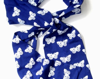 Moth pattern cotton jersey hand printed blue  scarf