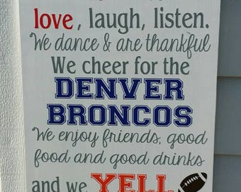 Denver Broncos, Broncos Decor, In This House, Sports Decor, Football, Wood sign, Home decor