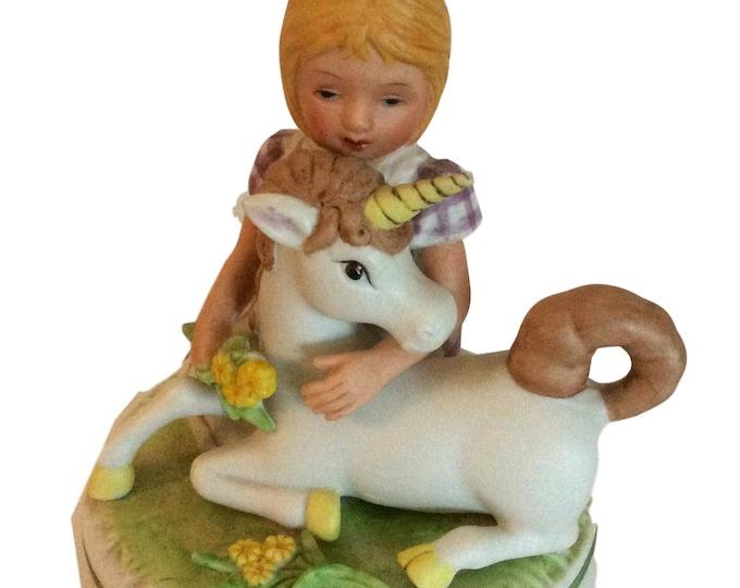Unicorn Gift For Children, Music Box, Vintage Aldon Ceramic , Gift For Her, Gift For Little Girl