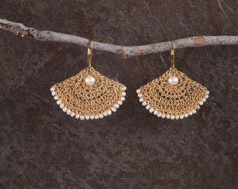Large Dangle Pearls Earrings,Pearls Fan Earrings, Statement Earrings, Gold Dangle Earrings, Pearls Jewelry, 14K Gold Filled, Handmade gift