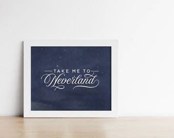 Peter Pan PRINTABLE Nursery Art - Take Me To Neverland - Navy Blue And White - Nursery Decor - Horizontal Art Print - SKU#6428
