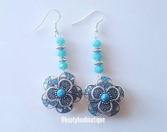 Statement Earrings Turquoise Flower Earrings Silver Dangle Drop Earrings Proms Weddings Bridesmaids Gift for her Boho Earrings Spanish Theme