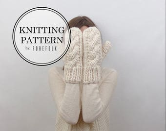 Knitting Pattern   Chunky Cable Knit Mittens   THE CARDIFFS Instant Download