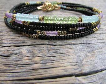 August Birthstone Bracelet, Bead Wrap Bracelet, Peridot Bracelet, Gem Bracelet, Peridot Jewelry, August Bracelet, August Gift, Gift For Her