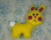 Little yellow bunny rabbit Handmade plush felt toy Made using an original 1970s vintage pattern
