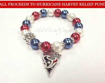 Houston Texans Bracelet, Beaded Bracelet,Football Bracelet, Charm Bracelet,Stretchy, Handmade Custom Jewelry Hurricane Harvey