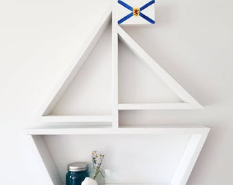 Custom Flag Sailboat Shelf, Nautical Decor, Wooden Shelf, Kids Room, Nursery, Baby Boy, Ocean Themed Decor, Bathroom Decor, Baby Shower Gift