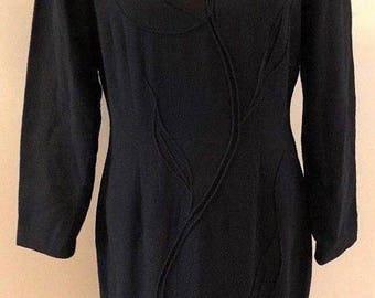 Vintage 1970s Vivienne Tam Womens Size 3 Little Black Dress Sheath Shoulderpads Embroidered 100% Cotton Fully Lined