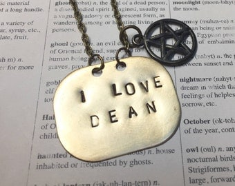I love Dean-Dean Winchester-Supernatural necklace-Geek necklace-Jensen Ackles-Sam and Dean-Supernatural TV show-Hand stamped-Horror-fandom