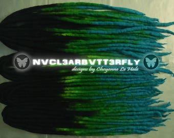 """Wool Dreads - 40DE """"Dark Earth"""" - 15""""- 20"""" (Total Length = 30""""- 40"""") Black Blue Turquoise Green Ombre Dreadlocks"""