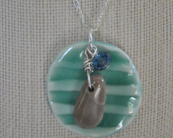 Petoskey Stone with teal ceramic pendant and blue crystal, Michigan necklace, Up North