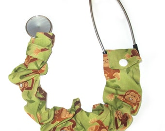 "Stethoscope Cover - Long 28"" Cover - Veterinary Stethoscope Cover - Pediatric Stethoscope Cover - Jungle Monkeys Stethoscope Cover"