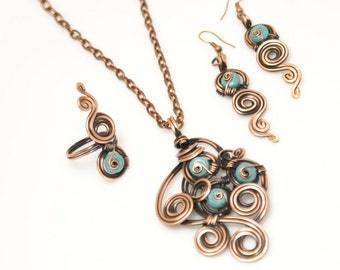 Copper jewelry set / turquoise jewelry set /december birthstone / turquoise jewelry / turquoise necklace earring ring / wire wrapped jewelry