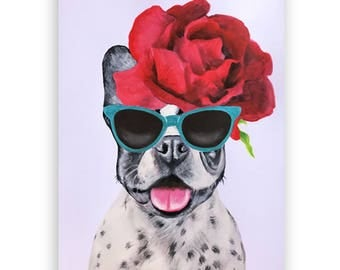 Original French Bulldog Painting, on high quality 250g Art paper, handpainted by Coco de Paris: Flower Power Frenchie, for Frenchie lovers
