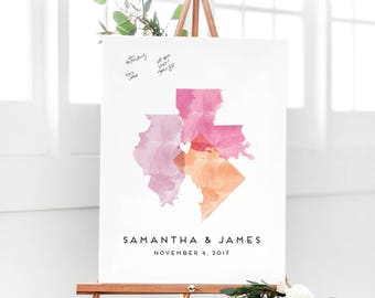 Watercolor Guest Book Alternative - 3 State Love Guest Book - Wedding Map Guest Book - Unique Guest Book - The StateLove
