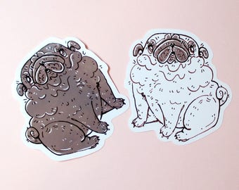 Black And Fawn Cute Pug Stickers, Pug Lover Gift