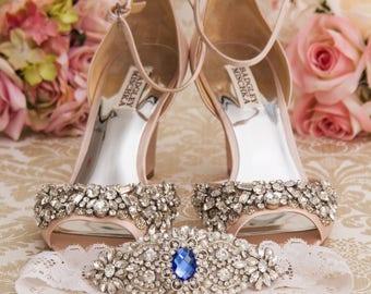 Wedding Garter set, Something Blue Bridal Garter set, Ivory Lace Garter set, Rhinestone Garter, Bridal Shower Gift