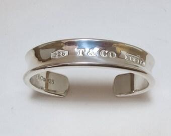 Tiffany & Co Sterling Silver 1837 Cuff Bangle Bracelet