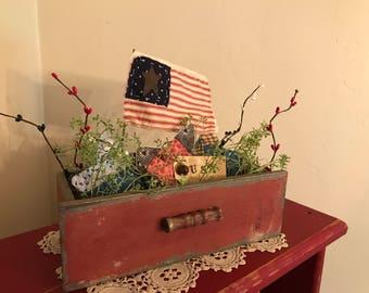 Primitive Americana Flag Star in Big Drawer Decor #2