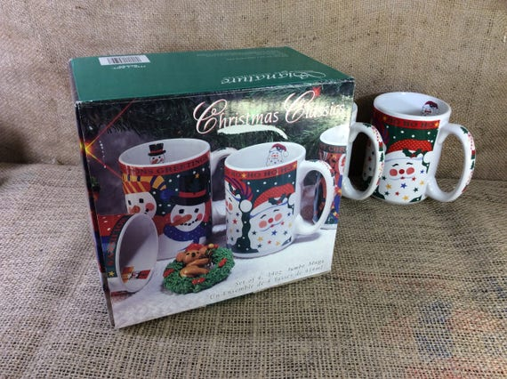Signature housewares from Camarillo, California Christmas mugs, new in box from 1985, santa mug, snowman mug, reindeer mug, nutcracker mug