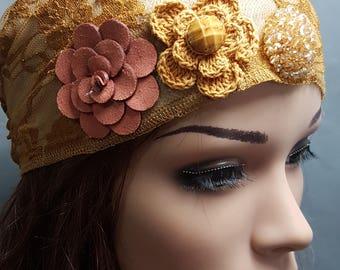 Mustard Yellow Lace Tichel , Yellow Head Scarf ,  Floral Headwear , Women's Bandana , Snood , Chemo Hat , Head Wrap , Hair Covering