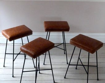Set of Four Tan Leather Counter Stools