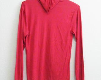 Red Silk Turtleneck Undershirt Large Lands End - Vintage Ski Shirt