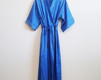 Blue Satin Robe 1970s - Medium - lightweight - Rope belt w/ tassels - Geometric Pattern