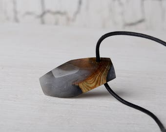 statement resin wood necklace, unique gift, unisex mens necklace, wood pendant, rustic jewelry, man gift