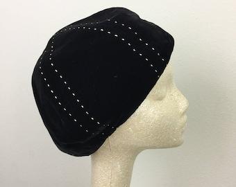Vintage 60s Black VELVET Hat w/ White Stitching