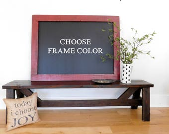 Extra Large Framed Chalkboard - Blackboard - Farmhouse Style Decor - Hand Distressed Wood Shown in Vintage Red 36 x 48 - 30 Color Options
