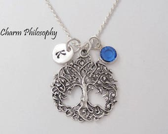 Tree of Life Necklace - Unique Tree Pendant - 925 Sterling Silver Jewelry - Personalized Initial and Birthstone