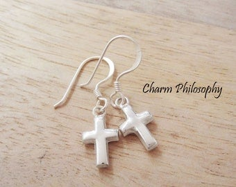Cross Earrings - 925 Sterling Silver Jewelry - Shepherd Hooks - Religious Earrings
