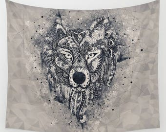 Wall Tapestry, Wolf, Mandala, Geometric, Boho Tapestry, Available in 3 Sizes