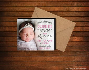 High Quality - Personalized Birth Announcement Magnets > Envelopes Included > FREE SHIPPING